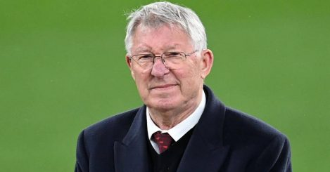 Former Manchester United manager Sir Alex Ferguson watches the presentation after the UEFA Europa League final, at Gdansk Stadium, Poland