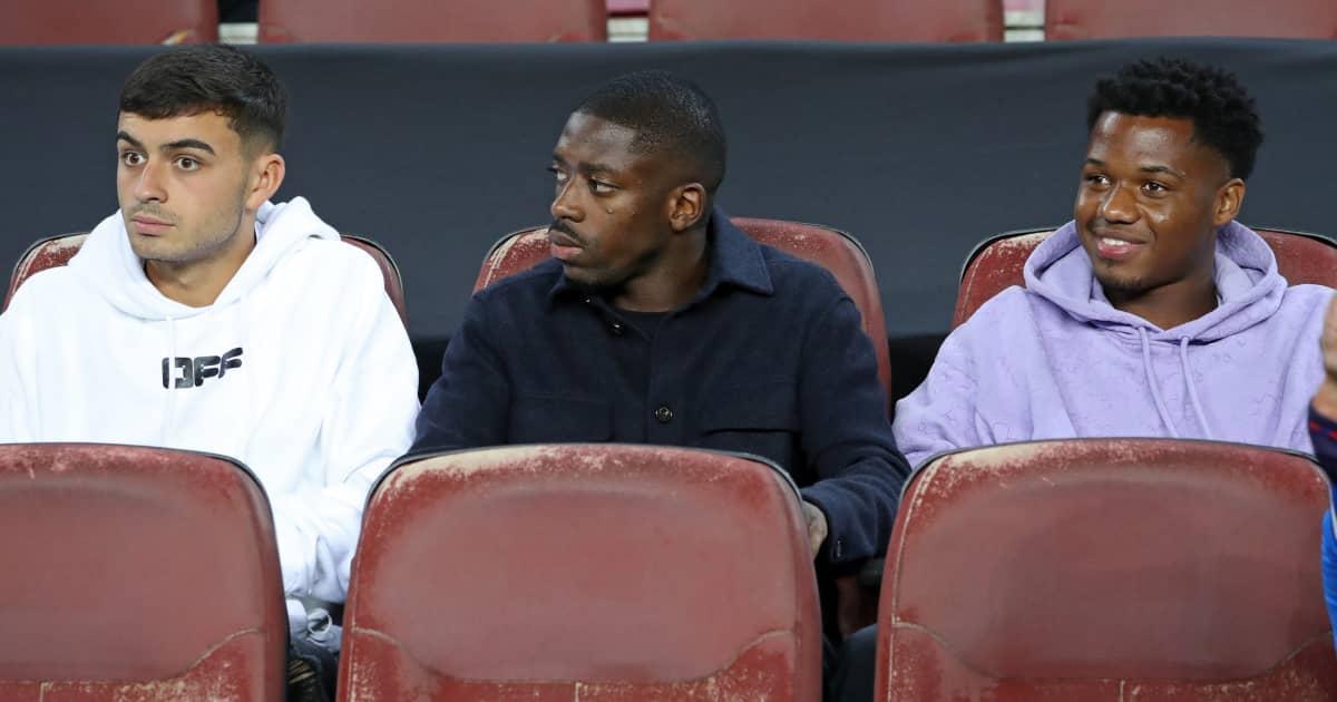 Barcelona trio Pedri, Ousmane Dembele and Ansu Fati sat in the stands 2021