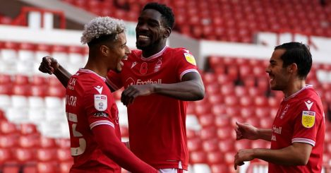 Nottingham Forest's Lyle Taylor (left) celebrates with teammate Sammy Ameobi after scoring his sides first goal during the Sky Bet Championship match at the City Ground