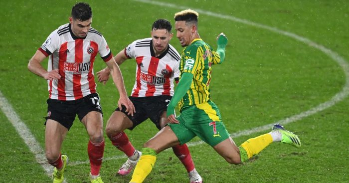 Sheffield United's John Egan, George Baldock and West Bromwich Albion's Callum Robinson battle for the ball during the Premier League match at Bramall Lane, Sheffield.