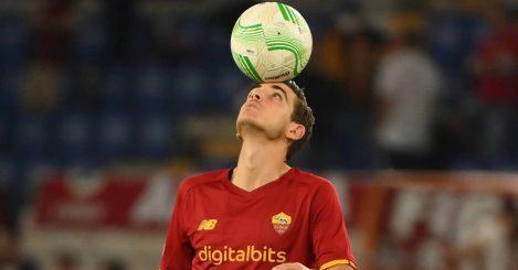 Roma midfielder Gonzalo Villar balancing the ball on his head in 2021