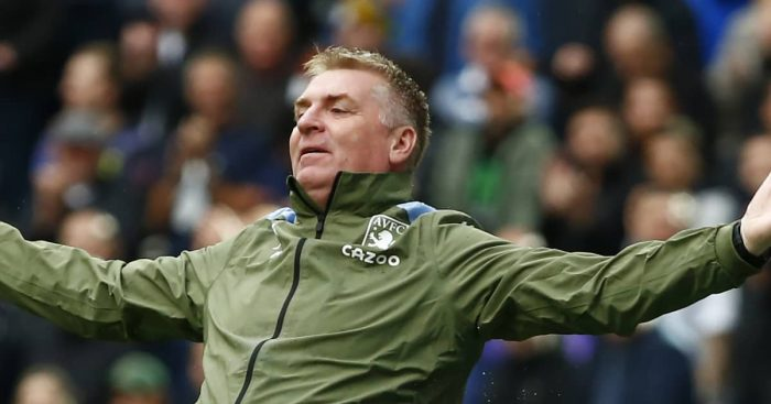 Aston Villa manager Dean Smith with his arms outstretched, October 2021