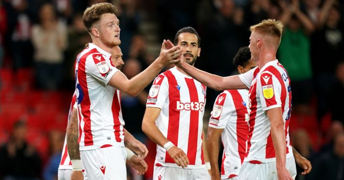Stoke City's Harry Souttar celebrates scoring their side's second goal of the game during the Carabao Cup first round match at the Bet365 Stadium