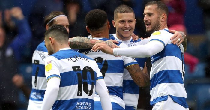Queens Park Rangers' Lyndon Dykes (centre right) celebrates scoring their side's first goal of the game during the Sky Bet Championship match at the Kiyan Prince Foundation Stadium