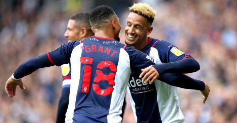 Callum Robinson celebrates with team-mate Karlan Grant for West Brom.