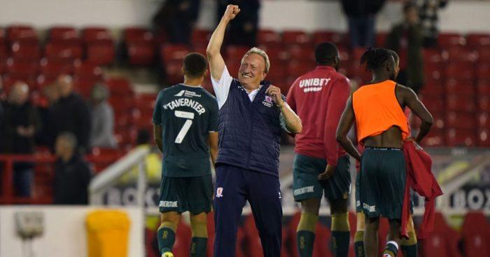 Middlesbrough boss Neil Warnock celebrating a win.