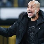 Pep Guardiola reacts during Club Brugge vs Manchester City, October 2021