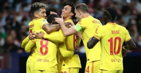 Naby Keita celebrates his strike against Atletico Madrid