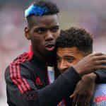 Paul Pogba embraces Jadon Sancho after Manchester United beat West Ham, September 2021