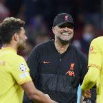 Jurgen Klopp celebrates Liverpool's win at Atletico Madrid