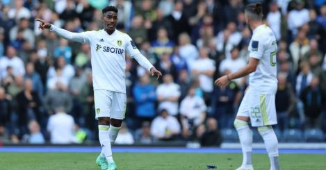Junior Firpo of Leeds United remonstrates with Jack Harrison of Leeds United during the Pre-season Friendly match between Blackburn Rovers and Leeds United at Ewood Park