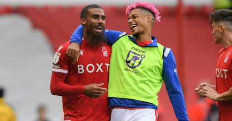 Lewis Grabban of Nottingham Forest and Lyle Taylor of Nottingham Forest celebrate victory