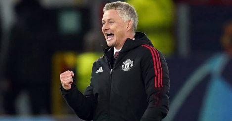 Man Utd manager Ole Gunnar Solskjaer punching the air 2021