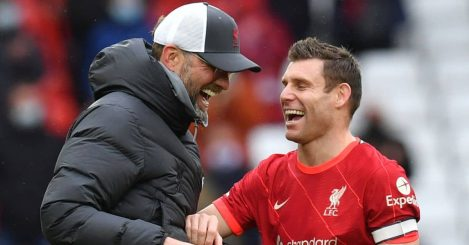 Liverpool's James Milner and manager Jurgen Klopp share a joke after the Premier League match at Anfield