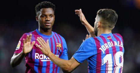 Jordi Alba and Ansu Fati in action for Barcelona