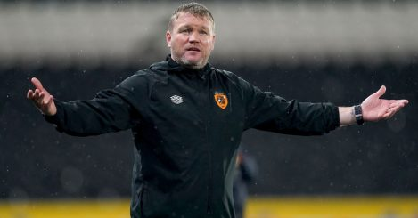 Hull City manager Grant McCann gestures during the Sky Bet Championship match