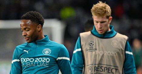 Man City duo Raheem Sterling and Kevin de Bruyne 2021