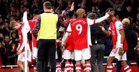 Emile Smith Rowe, Alexandre Lacazette, Pierre-Emerick Aubameyang Arsenal v Aston Villa October 2021
