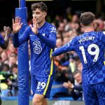 Chelsea quartet Trevoh Chalobah, Kai Havertz, Mason Mount and Reece James celebrate versus Norwich 2021