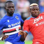 Sampdoria defender Omar Colley battling for possession with Napoli striker Victor Osimhen 2021