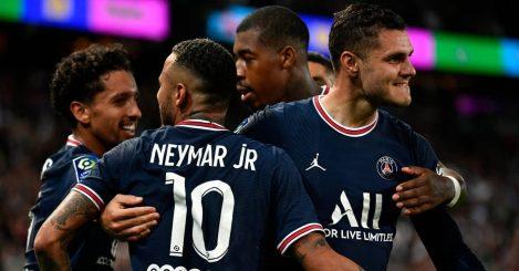 PSG strikers Neymar and Mauro Icardi celebrating a goal 2021