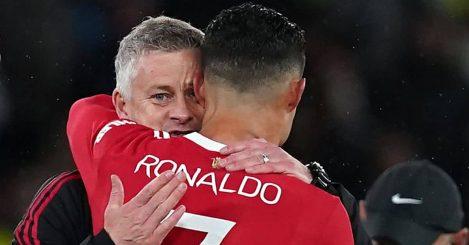 Ole Gunnar Solskjaer, Cristiano Ronaldo after Manchester United beat Villarreal in Champions League