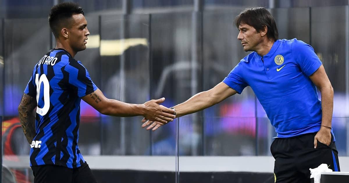 Inter Milan striker Lautaro Martinez shaking hands with Antonio Conte 2020